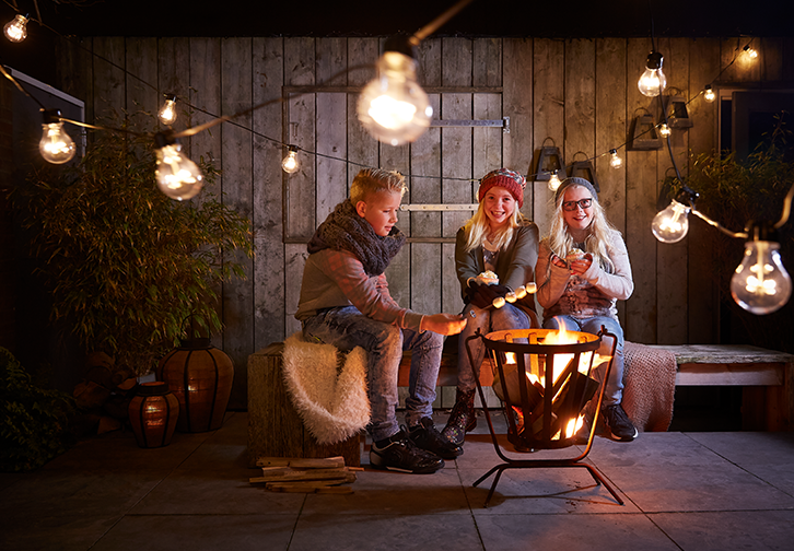 Group of friends around a brazier roasting marshmallows in the backyard.